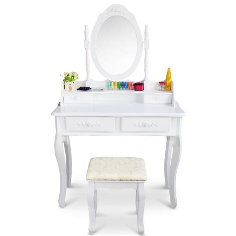 White Vanity Table With Drawers White Vanity Makeup Dressing Table Set W Stool 4 Drawer Mirror Jewelry Wood Desk Ebay
