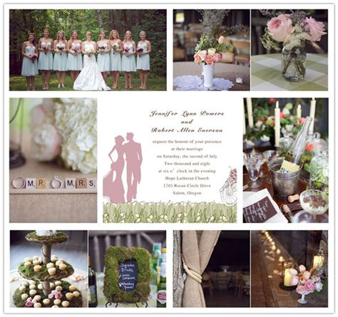 green and rustic wedding ideas and wedding invitations