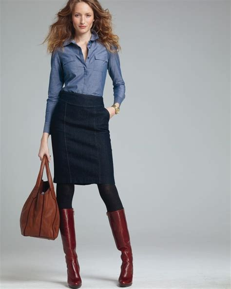 chambray pencil skirt tights and boots clothes