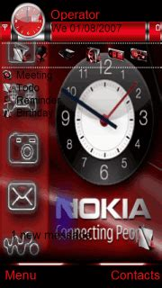 themes clock red download red nokia clock s60v5 theme nokia theme mobile