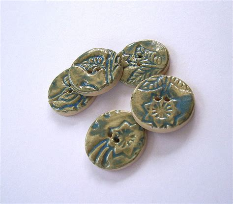 Handmade Ceramic Buttons - two handmade ceramic buttons by brick house