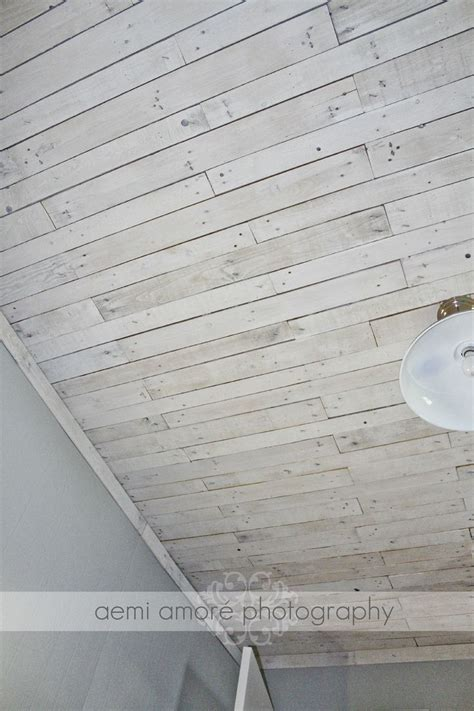white washed ceiling i made using pallet wood ceilings