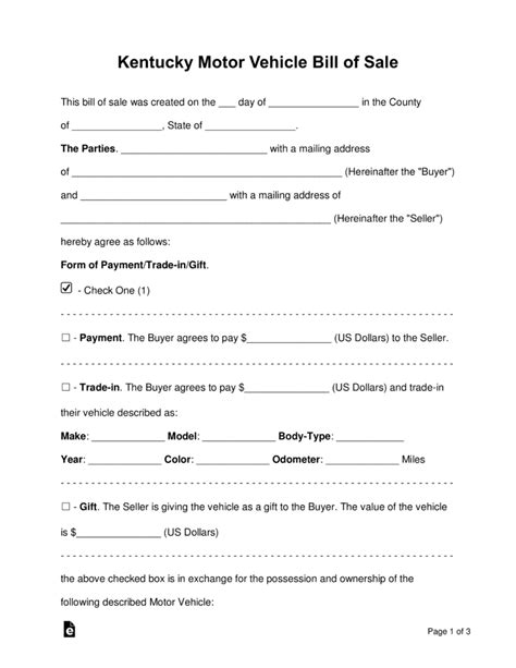 Free Kentucky Motor Vehicle Bill Of Sale Form Word Pdf Eforms Free Fillable Forms Motor Vehicle Bill Of Sale Template