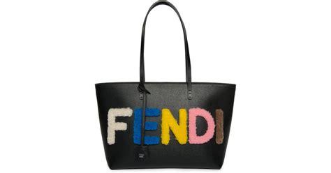 Fendi Shearling Shopping Chef Bag by Fendi Logo Small Multicolor Shearling Saffiano Leather