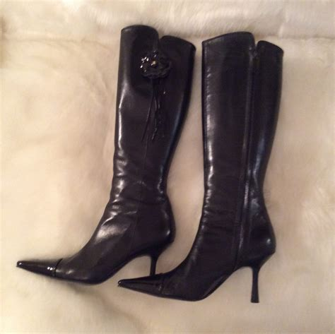 patent leather high heel boots chanel authentic vintage black leather and black patent