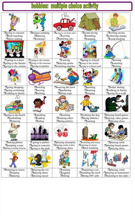 imagenes de hobbies en ingles hobbies multiple choice interactive worksheet