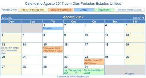 Calendario 2017 Estados Unidos Calend 225 Agosto 2017 Para Imprimir Estados Unidos