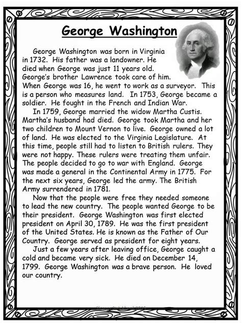 biography of george washington for first graders george washington reading comprehension popflyboys