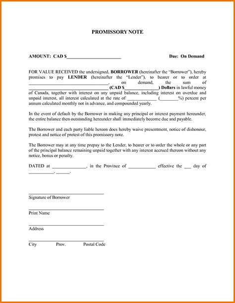 promissory note template exles of promissory note free cover sheet
