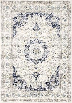 Distessed Western 9x7 Area Rugs - new traditional vintage modern distressed blue white