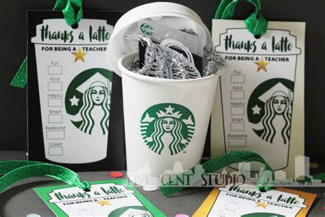 printable gift certificates starbucks thanks a latte coffee cup tag card diy downloadable