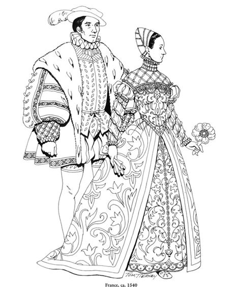 Coloring Page Clothing Of The Renaissance Kids N Fun Renaissance Coloring Pages