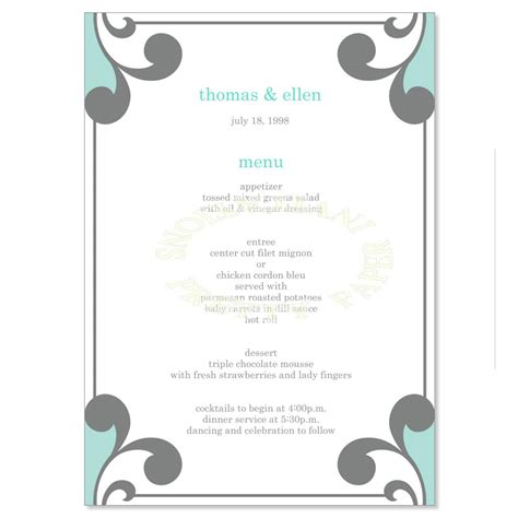 Rehearsal Dinner Menus Templates Thrive In Chaos Rehearsal Dinner Menu Template