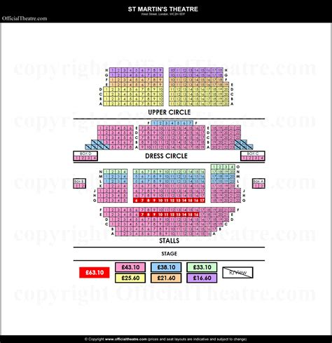 st theater seating plan st martins theatre seat map and prices for the