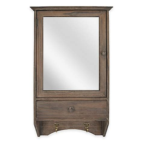 sheffield home decor sheffield home 2 shelf mirror wall cabinet with hooks in