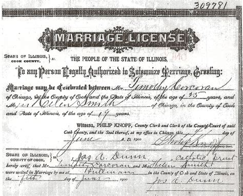 Marriage Records Cook County Illinois Journey To His Past Timothy Francis Corcoran And Helen