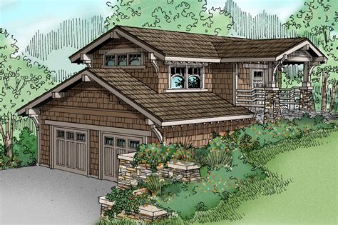 hillside garage plans craftsman house plans garage w living 20 008