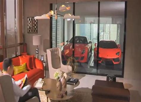 car in living room an exclusive apartment block where you can park your car