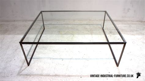 Industrial Glass Coffee Table Vintage Industrial Glass Top Coffee Table