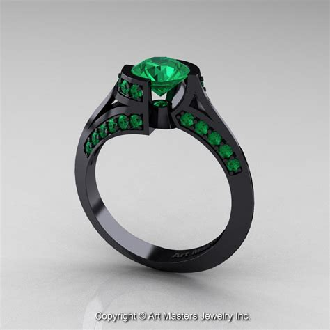 modern 14k black gold 1 0 ct emerald engagement