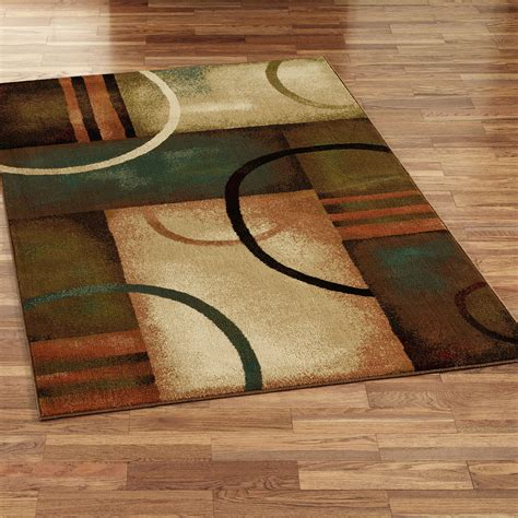 Contempory Area Rugs Square Cream Brown Green Geometric Area Rug Modern