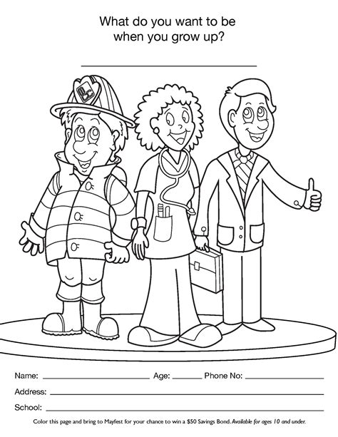 Free coloring pages of kids careers