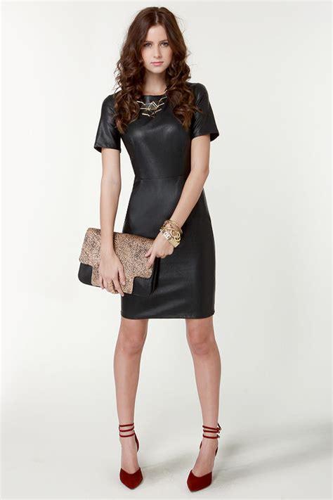 black dress vegan leather dress short sleeve