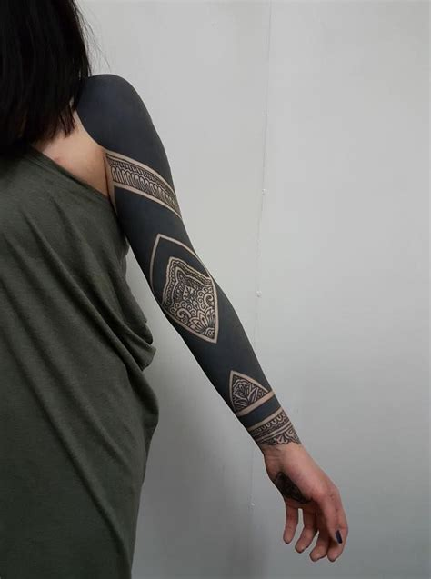 solid black tattoo sleeve by sven waeber https www instagram