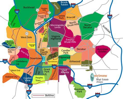 map of atlanta atlanta neighborhoods map atlanta real estate