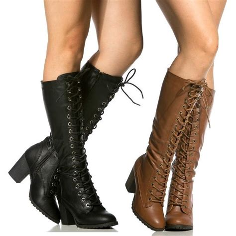black chestnut combat lace up knee high boots