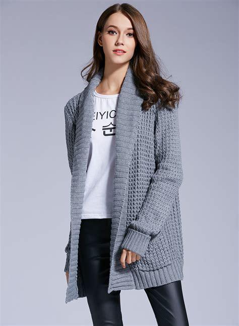 fashion collar s fashion shawl collar open front knit cardigan roawe