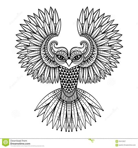 Patterned Animal Coloring Pages by Vector Ornamental Owl Ethnic Zentangled Mascot Amulet