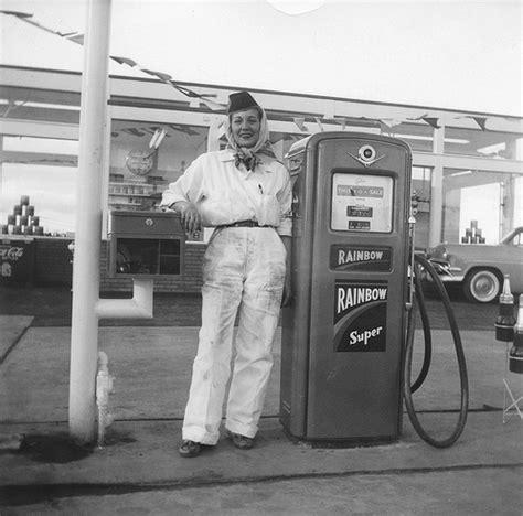 gas station attendant 1950s rainbow gasoline flickr photo