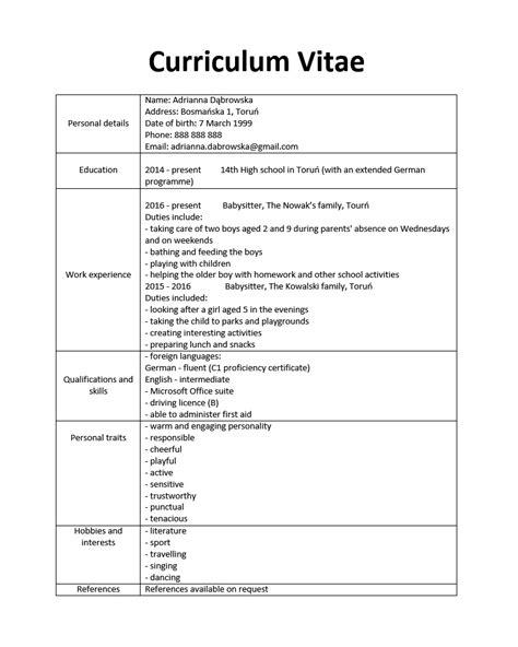 wzory cv po angielsku 12 przykładowych cv po angielsku