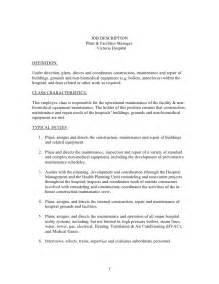 Facilities Manager Description Template description plant and facilities manager