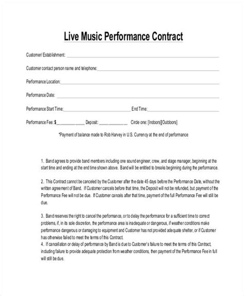 13 Music Contract Templates Free Sles Exles Format Download Free Premium Templates Free Performance Contract Templates
