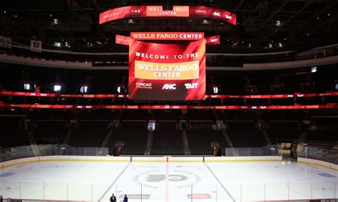 wells fargo center lifts    kinetic scoreboard   rafters  south philadelphia