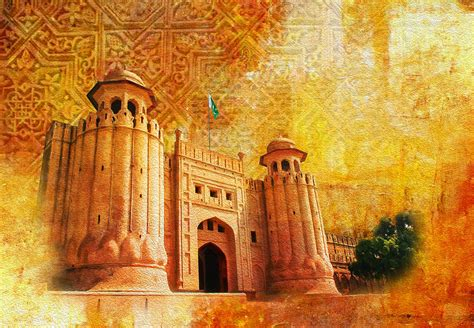 Duvet Pillow Shahi Qilla Or Royal Fort Painting By Catf