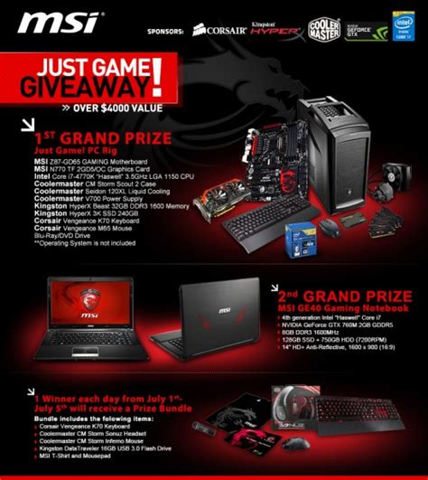 Gaming Giveaway - msi kicks off just game giveaway gives you a chance to win a 4 000 pc