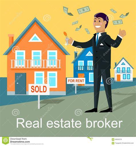 property house real estate brokers real estate broker design flat stock vector image 63632219