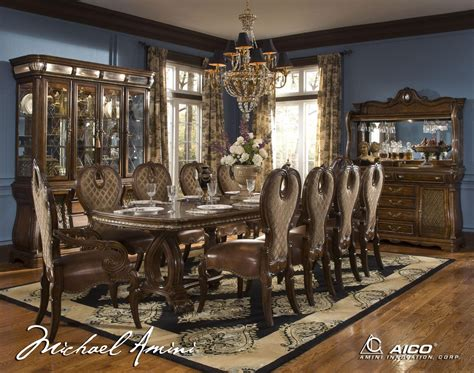 aico dining room set michael amini the sovereign traditional rectangular dining