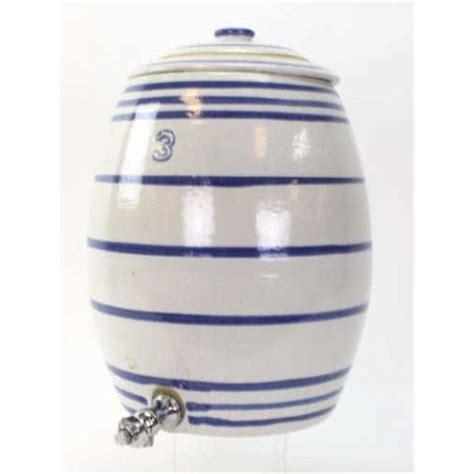 1 Gallon Ceramic Crock With Spigot - antique 3 gallon crock water dispenser with original