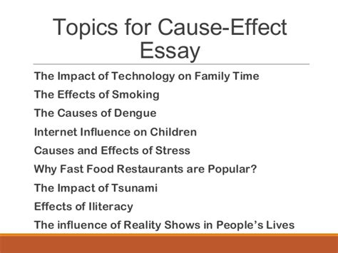 Cause And Effect Essay On Fast Food by Cause Effect Essay Mass Lecture 545824