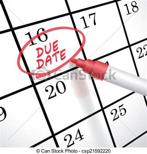 Due Date Lookup Vector Illustration Of Due Date Words Circle Marked On A Calendar By A Pen