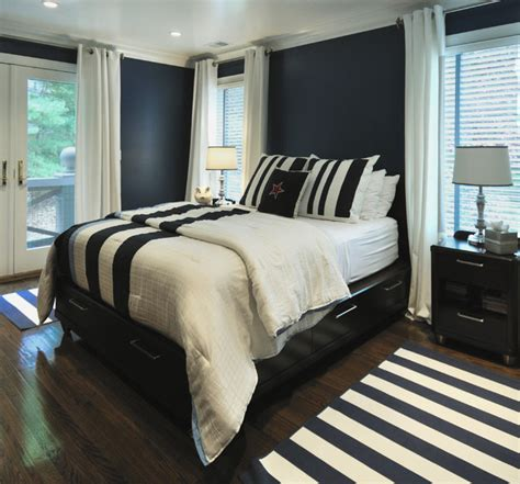 navy and white bedroom contemporary bedroom other