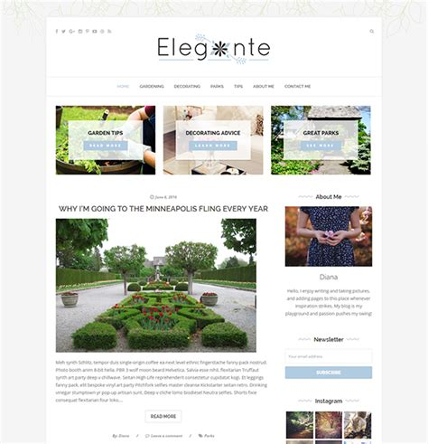 wordpress blog themes elegant elegante clean elegant multi purpose wordpress blog