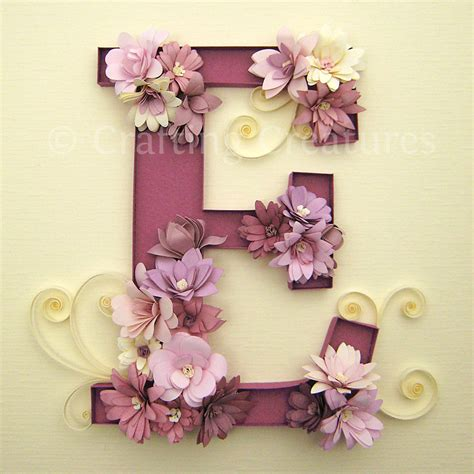 diy beautiful crafting creatures quilled e monogram with fringed flowers