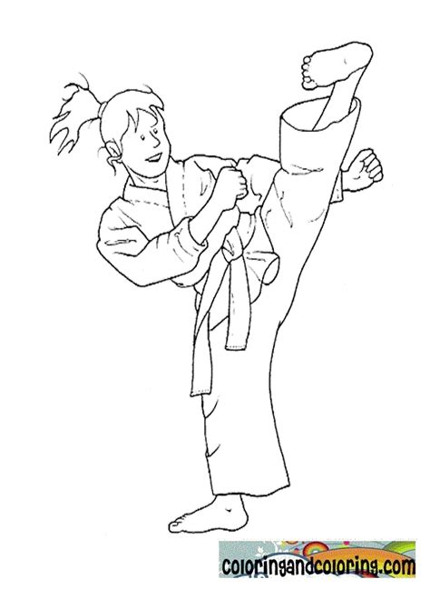 free coloring pages of karate girl
