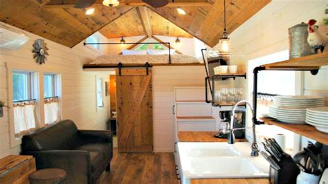 tiny house on wheels modern farmhouse interior floor level