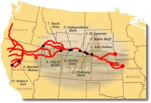 map of the oregon trail with landmarks goldrush 1849 journey